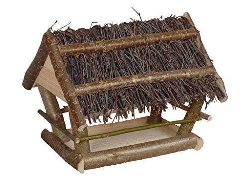 Damian-Wiklina Vogelfutterspender, Vogelhäuschen, Futterstellenschutz gegen Regen und Schnee - aus Haselnussholz. Dach mit Birkenzweigen bedeckt.