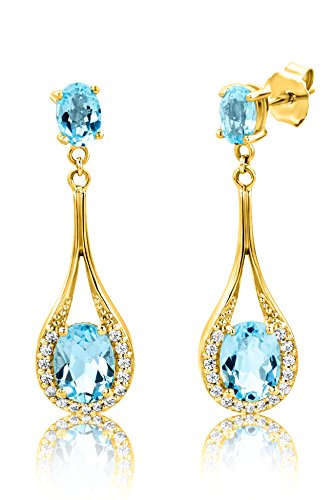 ByJoy Damen-Ohrringe 925 Sterling- Silber Ovalschliff Blau Topas