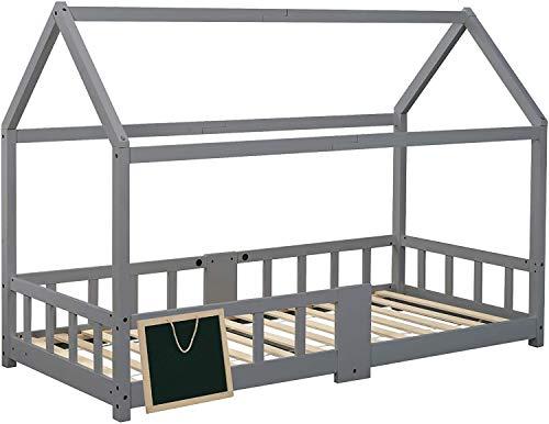 ModernLuxe Kinderbett 90x200 cm Hausbett mit Rausfallschutz Robuste Lattenroste Hausbett mit inklusive Tafel für Kinder mädchen aus Holz Lattenrost Massivholz Natur Hell Grau (ohne Matratze)