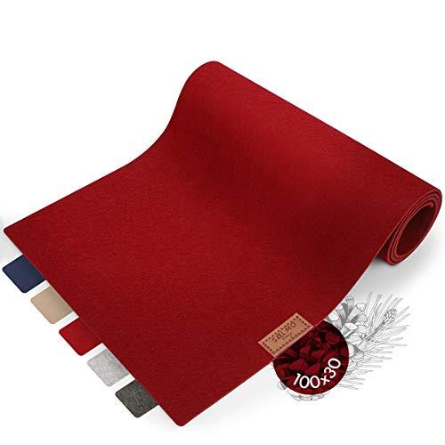 sølmo I Design Tischläufer Rot aus Filz I 100x30 cm Tischband I Abwaschbar mit Leder Label, Skandinavischer Tisch Filzläufer Herbst Weihnachten [Wine Red]