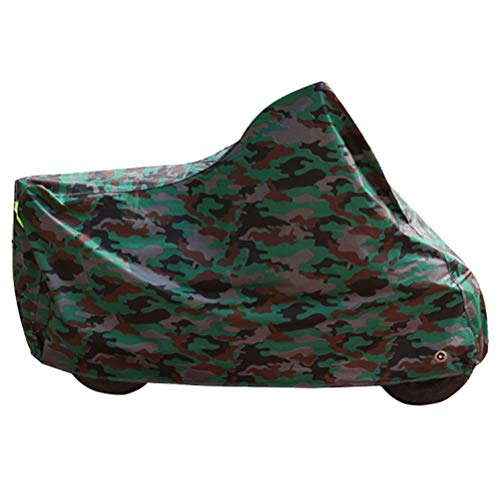 Abaodam Cubierta universal de camuflaje verde para motocicleta impermeable refugio bloque solar cubierta cubierta de lluvia cubierta al aire libre protector para scooter tamaño XL