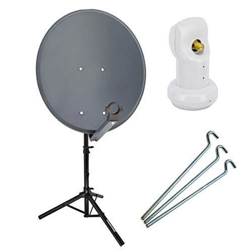 PremiumX Camping SAT Anlage 60cm Satellitenschüssel mit Single LNB inkl. Dreibein Stativ 3X Stahl-Heringe