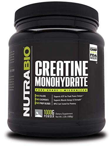 NutraBio Creatine Monohydrate - Micronized and Pure Grade - Supports Muscle Energy and Strength - (1000 Grams) - Unflavored, HPLC Tested