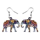 XQAQW Jungle Elephant Pendientes Acrylic Joyería Patrón Floral Gran Gota de Agua Larga Wild Animal Moda para Mujeres Niñas Damas