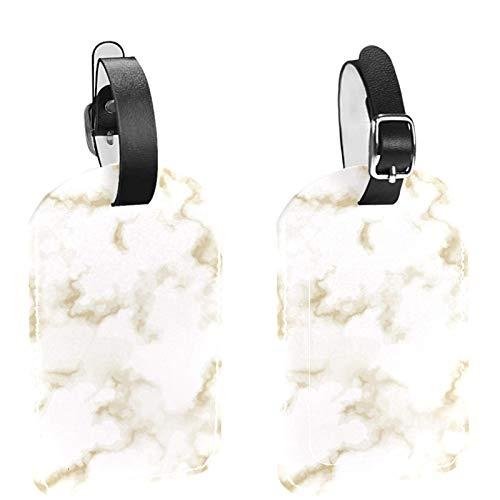 Paquete de 2 etiquetas de equipaje, de piel sintética, con cubierta de privacidad para bolsa de viaje, maleta, colegio, mármol marrón