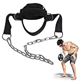 Neck Harness Neck Exerciser Neck Harness for Weight Training, Ideal Neck Exercise Equipment for Neck Workout, Resistance Training, Weight Lifting, Adjustable Head Harness with Heavy Duty Steel Chain