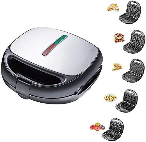 Elektrischer Waffeleisen 5 in 1 Multifunktions-Schnellmaschine für schnelles Frühstück abnehmbare Premium-Backform mit Antihaftbeschichtung für Waffeln Donuts Sandwich Steak Panini-Ges