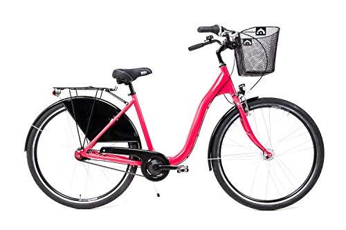 Sprick 28 Zoll Alu Damen Fahrrad City Bike Shimano Nexus 7 Gang Nabendynamo Korb rosa