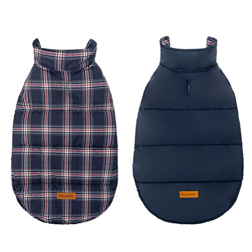 Reversible Dog Winter Jacket - Plaid Dog Cold Weather Clothes Warm Coat Waterproof & Windproof, Soft Comfortable for Medium Large Dogs Wearing