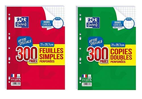 Lot de 300 feuilles simples + 300 copies doubles grand carreaux seyès perforées A4 + 1 Index Adhésif Blumie
