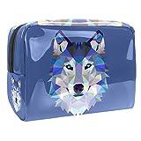 Bolsa de maquillaje de PVC con cremallera, bolsa de aseo impermeable con lobo hipster para mujeres y niñas