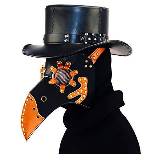 XJST Maschera di Halloween, Masquerade Party Costume Mask, Plague Doctor Bird Mask Long Naso Beak Cosplay, Plaghe in Pelle PU Black Plague Maschera Dottore, 32Cm * 26 Cm * 26 Cm