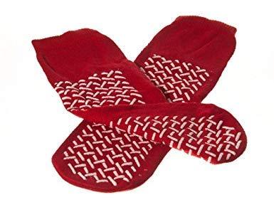 Double Tread Slipper Socks/Fall Prevention Socks- Red (1 Pair) Size: One...