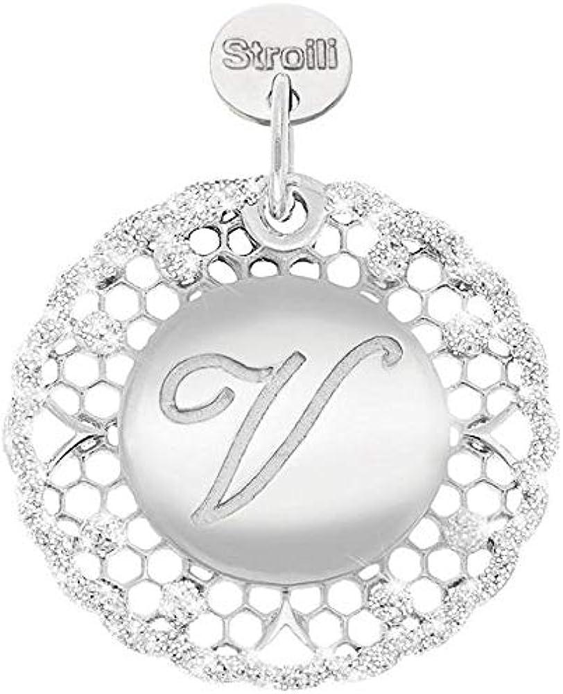 Stroili love beats lettera v,ciondolo, charm da donna ,in argento 925 1623263