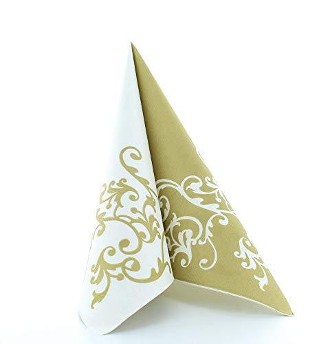 Mank Airlaid-Servietten 40 x 40 cm | perfekt für Gastronomie und Feiern | textilähnlich und saugstark | 50 Stück | Pomp (Gold-Weiß)