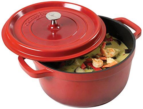 Crock Pot 7956402 Edmound 5  Quart Cast Aluminum Dutch Oven with Lid Gradient Red