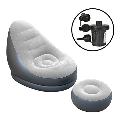 Inflatable Lounge Chair with Ottoman Blow Up Chaise Lounge Air Lazy Sofa Set (Grey)