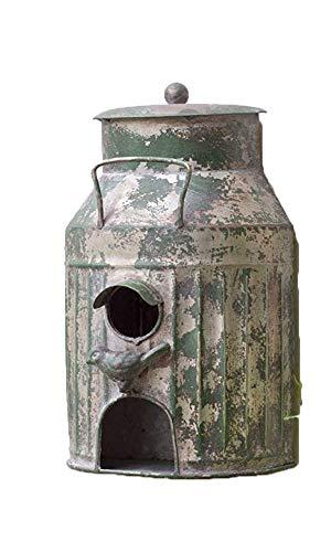 Rustic Metal Wall Mount Milk Can Birdhouse