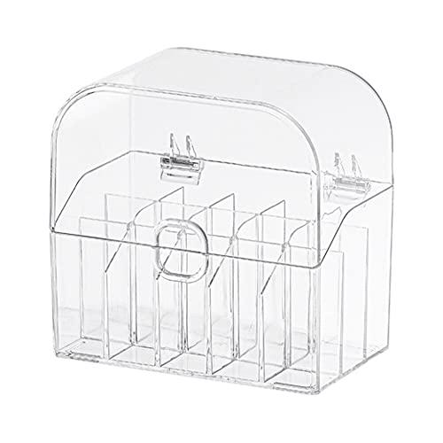 N\C Organizador de lápiz labial de 15 rejillas de almacenamiento de cosméticos de plástico transparente con tapa a prueba de polvo
