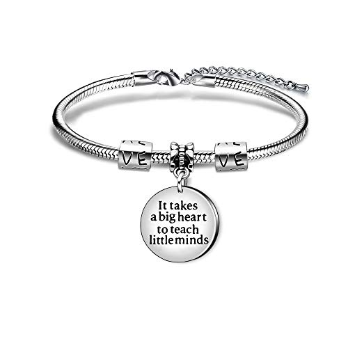 "AGR8T Pulsera de regalo de agradecimiento para el profesor, con texto en inglés ""It Takes A Big Heart to Teach Little Minds"""