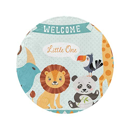 Round Baby Shower Design Cute Jungle Animals Receiving Blanket Soft and Cozy Throw Blankets For Living Room Circle Blankets Bed Blankets For Home Bed Couch Travel(47in/60in)