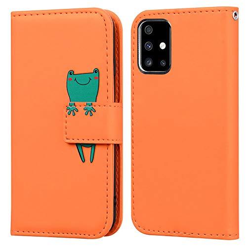 Ailisi Samsung Galaxy A51 Hülle, Karikatur Grün Frog Muster Leder Handyhülle Brieftasche Schutzhülle Leder Flip Hülle Wallet Cover Klapphüllen Tasche Etui mit Kartenfächern+Stand -Frosch, Orange