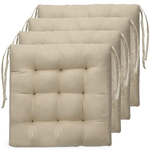 Tesosy Pack 4 Cojines para Sillas , Cojín Decorativo de Asiento 40 x 40 x 3.5...