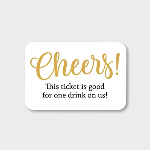 70ct Wedding, Birthday, Engagement Party and Other Event Cash Bar Drink Tickets (RR-145-GL)