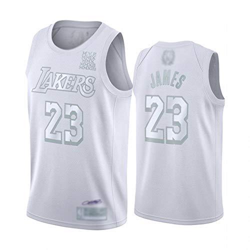 BCGG® # 23 Lebron James Fan Basketball Trikot Lakers MVP Version ärmellose Tanktops, Besticktes Spieluniform T-Shirt, Jungen Männer weiß Silber-A_XXL
