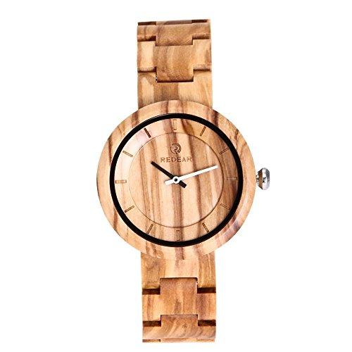 GLEMFOX Houten horloge analoog kwartsuurwerk Lichte heren en dames kwartshorloge handgemaakt sport-vrijetijdhorloge met geschenkdoos Olive wood