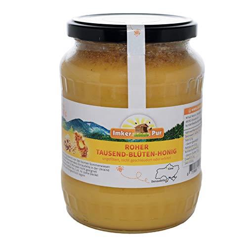 Ruwe honing uit ImkerPur, ongefilterd, niet gecentrifugeerd of verhit, bevat bloemenstuifmeel, bijenwas, propolis, bijenbrood en koninginnengelei (1000 g rauwe duizendbloemenhoning)
