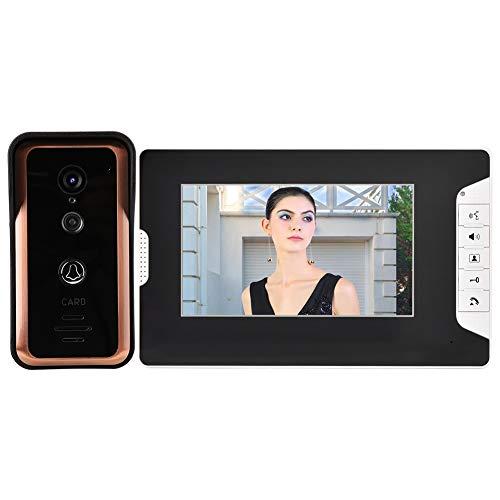 Pokerty Timbre de Video WiFi, 100-240V 7 Pulgadas WiFi Videoportero Timbre 1 Monitores de cámara de intercomunicación Visual(Enchufe de la UE)
