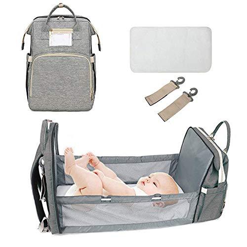 Mochila cambiador para bebé, bolsa de viaje multiusos, bolso para pañales, bolso cambiador, cama plegable, mochila para bebé, cama plegable gris gris