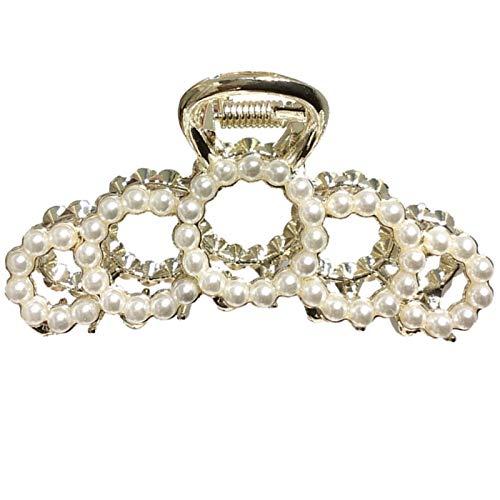 Luckyl Anillo Circular Hueco Metal Garra de Pelo Joyas Perlas de Diamantes de imitación Pinzas de mandíbula Pasadores Perlas de Diamantes de imitación Pasadores