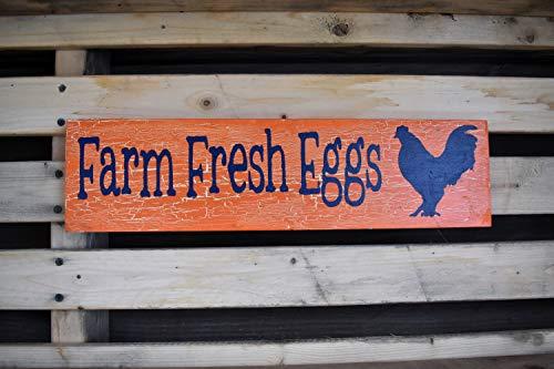 Placa de madera para pared con diseño de huevos frescos de granja y naranja con efecto agrietado para la pared del hogar/oficina