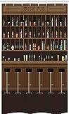 ABAKUHAUS Irish Pub Schmaler Duschvorhang, Barhocker & Flaschen, Badezimmer Deko Set aus Stoff mit Haken, 120 x 180 cm, Dunkelbraun