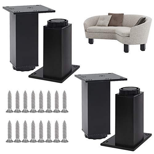 Juego de cuatro piezas de armario cuadrado ajustable de aluminio, sofá, cama, mesa de café, mueble de TV, patas de apoyo para armario de zapatos. Altura 60 mm (+15), tornillos incluidos