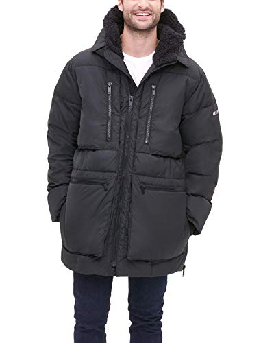 DKNY Herren Ultra Loft Full Length Quilted with Sherpa Lined Hood Parka, schwarz, X-Large