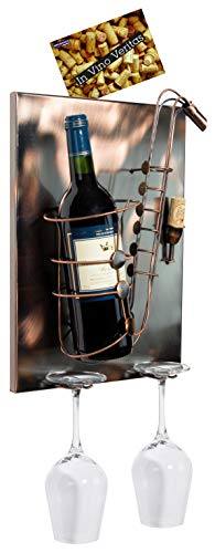 Brubaker wijnfleshouder Saxofon - Wall Art afbeelding metaal - met 2 glashouders - inclusief wenskaart voor wensgeschenk