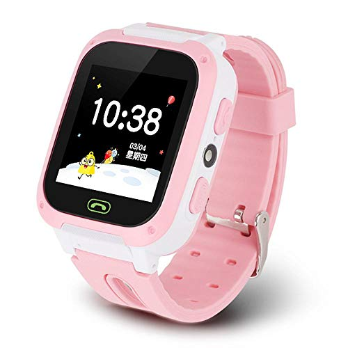Goglor Teléfono Smartwatch para niños, LBS/GPS Rastreador a Prueba de Agua Pantalla táctil SOS Reloj Despertador Cámara Inteligente Reloj Llamada bidireccional Regalos para Niños Niñas