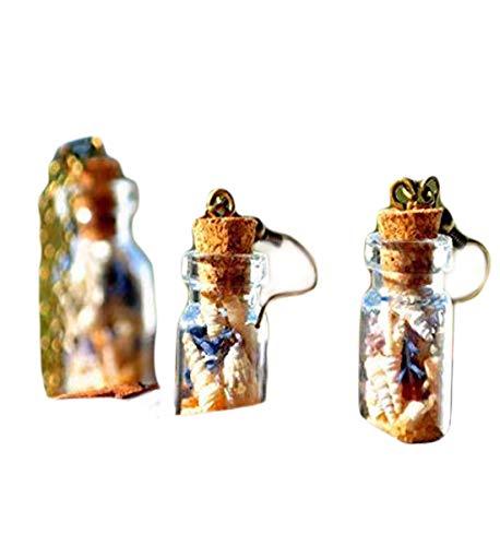 Heng Yuan Tián Cheng Seashell Pendientes de Playa Mini Botella Pendientes Mini Terrario Pendientes de Mar Mini Botella Pendientes de Terrario Pendientes de condimento