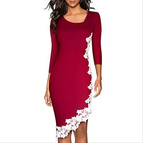 QUNLIANYI Abendkleid Abiballkleid Summer Chic Lace Asymmetric Collar Elegantes Kleid Vintage Slim Casual Partykleid XL Dunkelrot