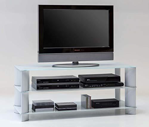 Signo TV HiFi Ablage Regal Lowboard 120 cm lang Weiß Glas Metall Hochglanz