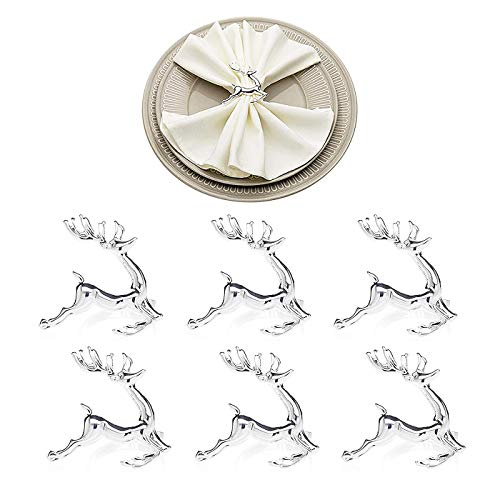 Angels' Hirsch Serviettenringe von 6 Stück, Silber Serviettenringe für Dinner Party Urlaub Hochzeit Thanksgiving Weihnachten Neujahr