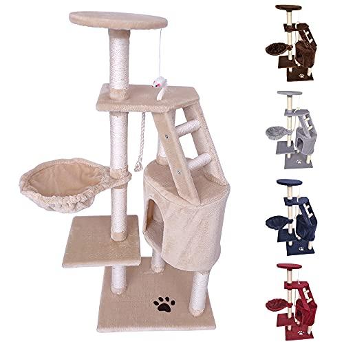 TIRAGRAFFI per Gatto 120 CM Gioco Parco Giochi Cuccia Gatti GRAFFIATOIO SISAL Albero CUCCE Tira GRAFFIO Palestra - Beige