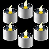 6 Pieces Solar Tea Lights Candles - Rechargeable Flickering Flameless Solar LED Nightlight with Dusk to Dawn Light Sensor for Halloween Outdoor Camping Emergency