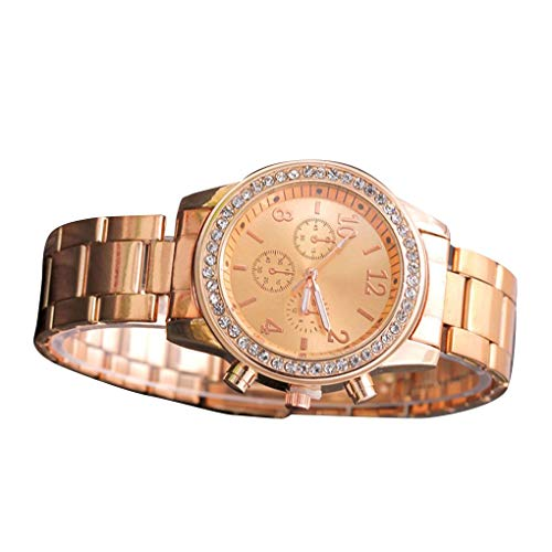 shunbang yuan Relojes de Pulsera causales Mujeres Relojes de Acero Inoxidable de Cuarzo Cristal niñas Relojes de Pulsera de Acero Inoxidable