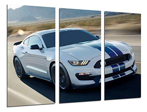 Cuadro Moderno Fotografico Coche Deportivo, Ford Mustang Blanco, 97 x 62 cm, Ref. 27218