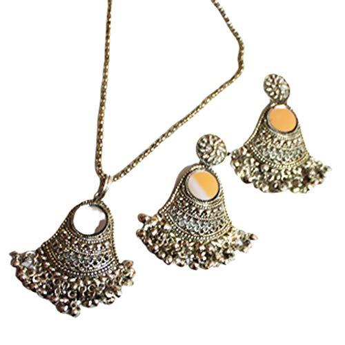 Silber Braut Halskette Schmuck Ethnische Anhänger Kette Set Mode Tropfen baumelt Hochzeit Maang Tikka Set Bollywood Antike Schmuck Geschenk