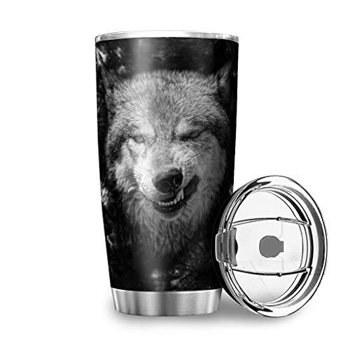 WOSITON Wild Angry Black Wolf Face - Taza de viaje de acero inoxidable con aislamiento al vacío (600 ml), color blanco